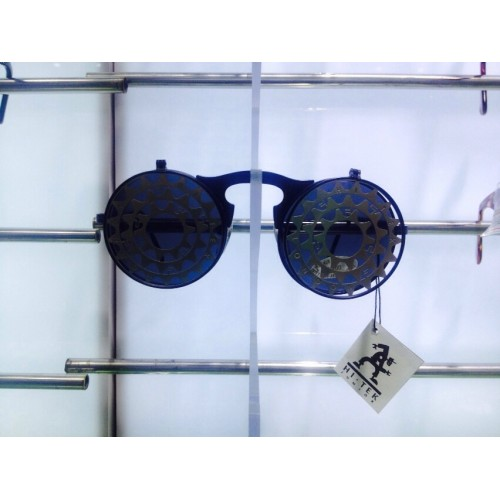 98f18e98785 Steampunk Round Black flip up industrial Goth cool sunglasses Hi Tek  Alexander с з
